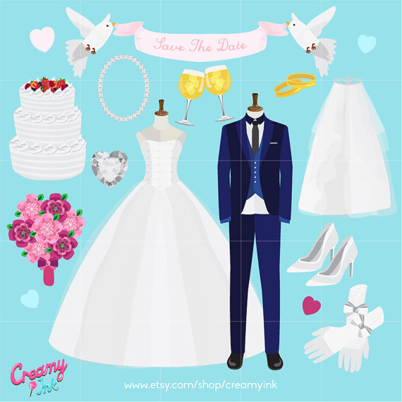 Dress clipart bridal shower Digital Bridal / Vector Tuxedo