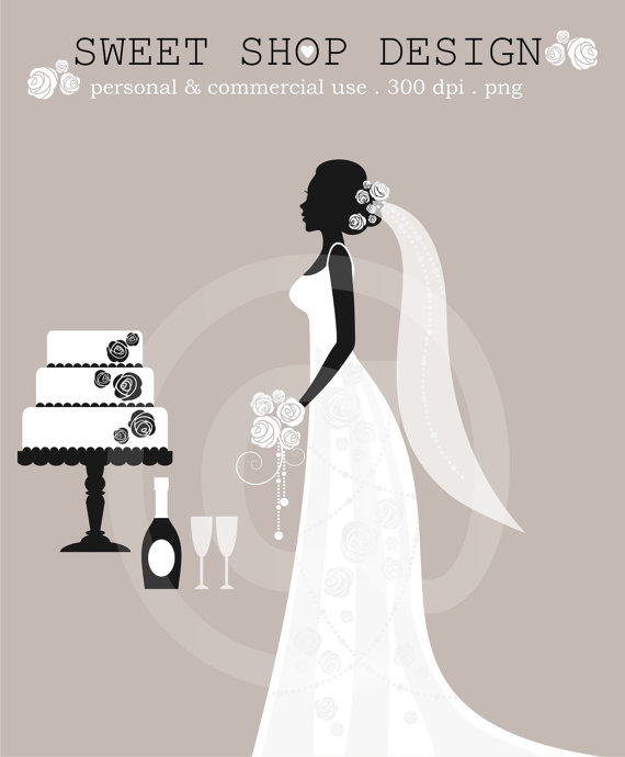 Dress clipart bridal shower Clip Art Black Art from