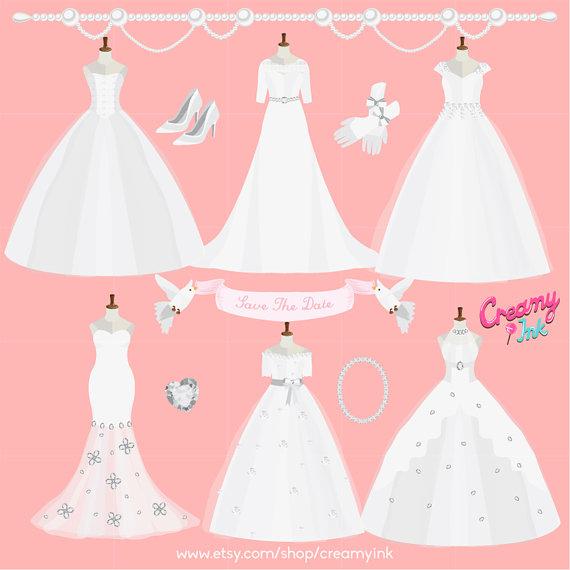 Wedding Dress clipart bridal shower Art/ Clipart Wedding Vector Gown