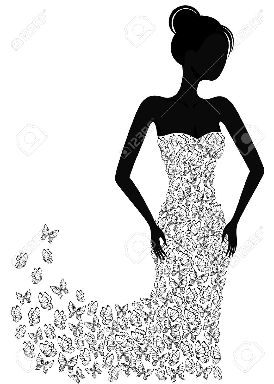 Gown clipart lady dress Butterfly Clipart woman Collection Swimmers