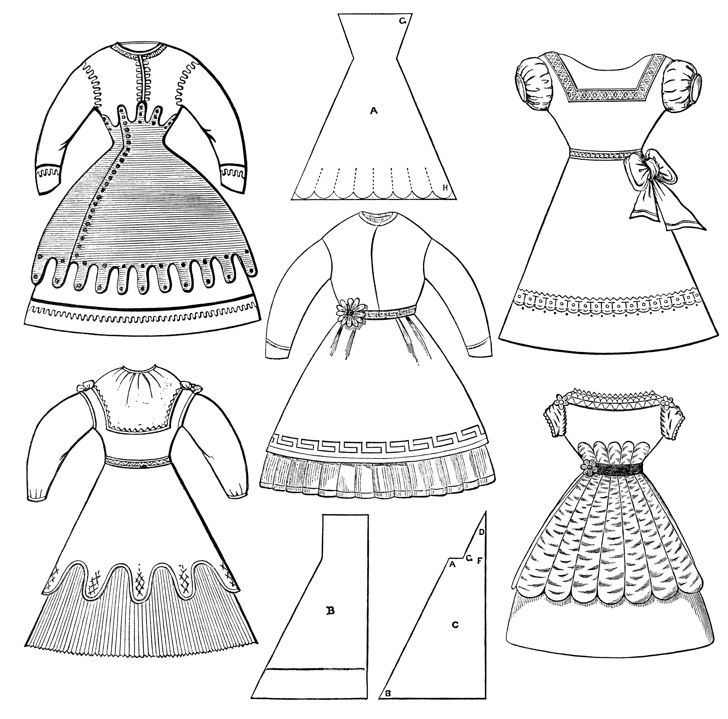 Gown clipart black and white In black dress and Cliparts
