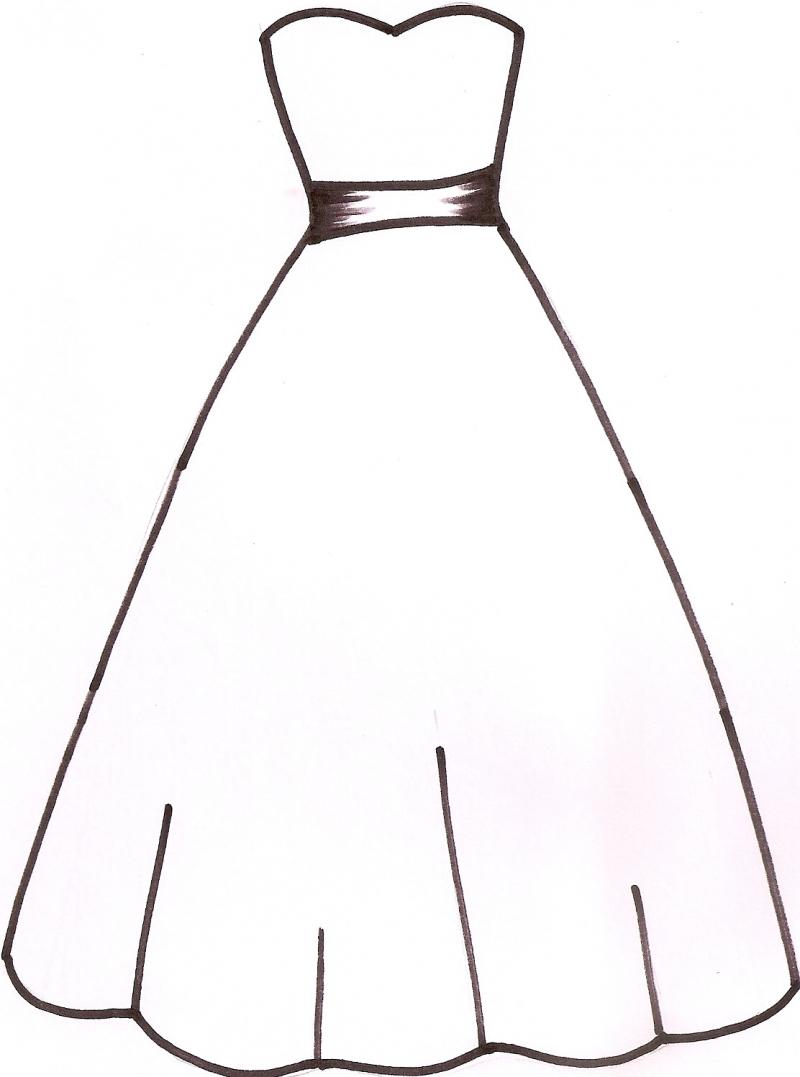 Dress clipart color Art Free Outline Clipart Dress