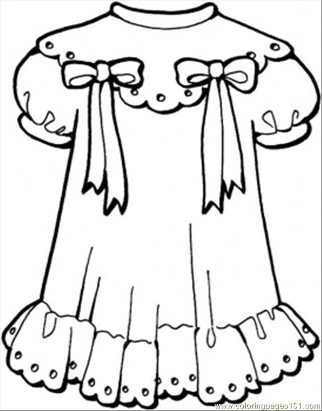 Dress clipart color Free Clothing Dress Coloring Girly