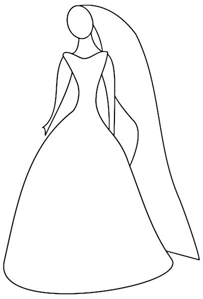 Wedding Dress clipart stand Wedding women outline of dress