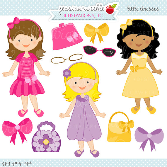 Yellow Dress clipart party dress Easter Il_570xn  Cute Digital
