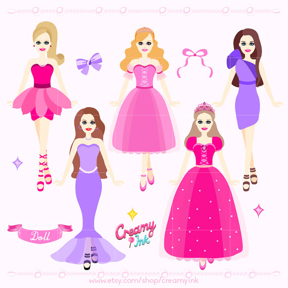 Barbie clipart princess Princess Clip Doll Digital /