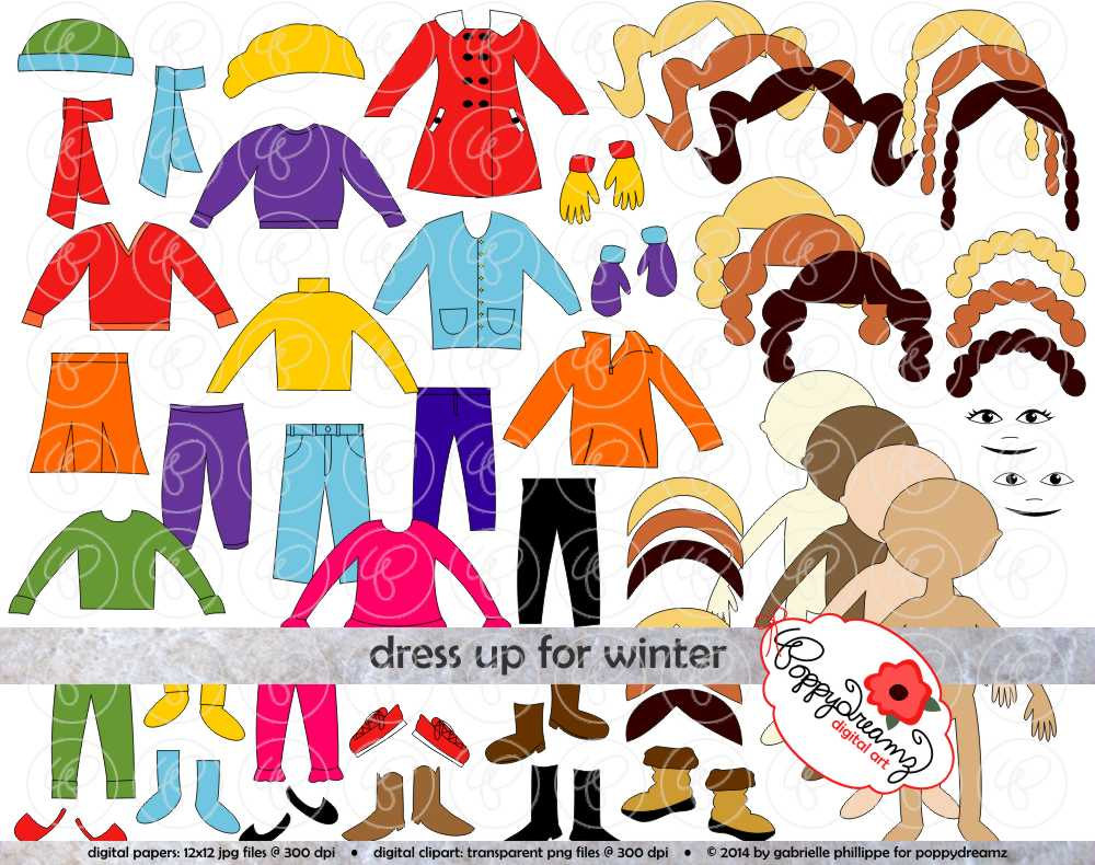 Glove clipart winter boot Set: Clipart Dress Up Doll