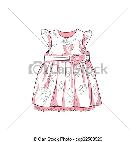 White Dress clipart baby Sketch Vector Illustration Baby csp32563520