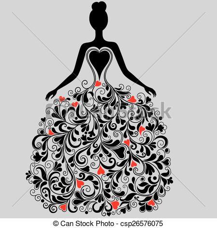 White Dress clipart elegant dress Silhouette of Vectors of Vector