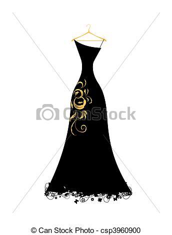 Dress clipart evening dress Black dress csp3960900 hangers on