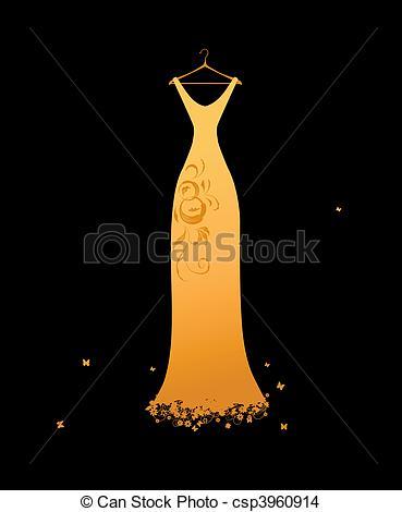 Dress clipart evening dress Black Evening csp3960900 hangers on