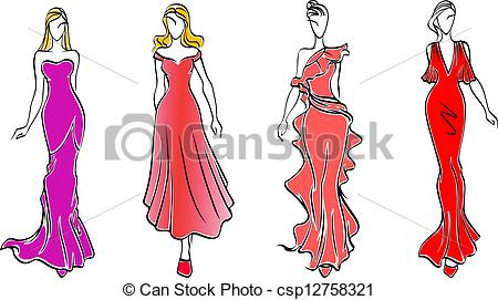 Gown clipart fashion dress Of fashion Vector Vector Womens