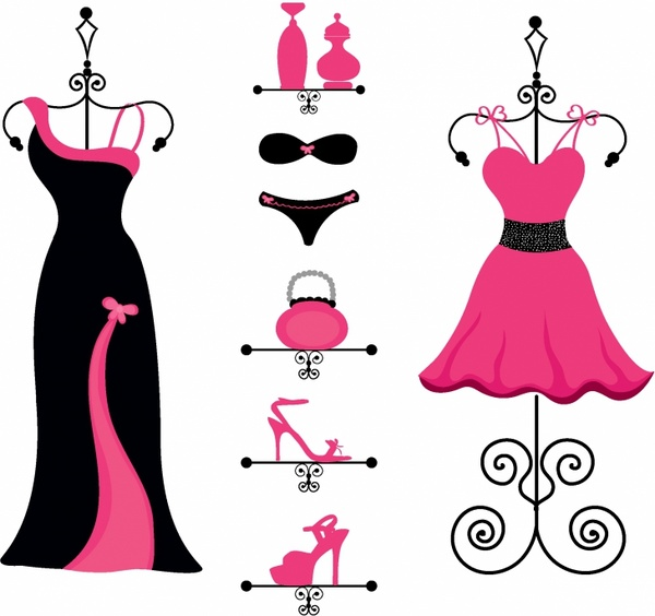Gown clipart fashion design And (4 vector) Free vector