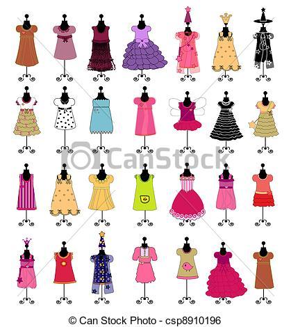 Illustration clipart fashion Csp8910196 set girls vector set
