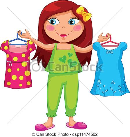 Woman clipart kid Dressed getting of dressed Vector