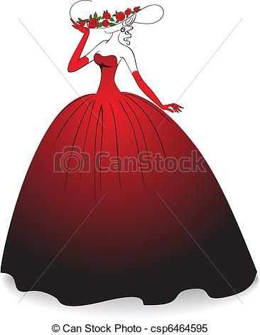 Gown clipart red dress Of  in dress Woman