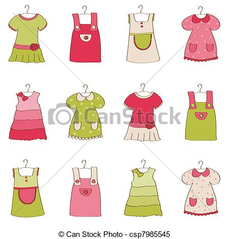 Dress clipart line art Collection csp7985545 Vector Girl Dress