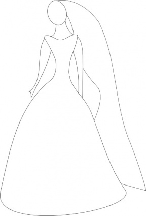 Dress clipart line art Clip Art Wedding – Dress
