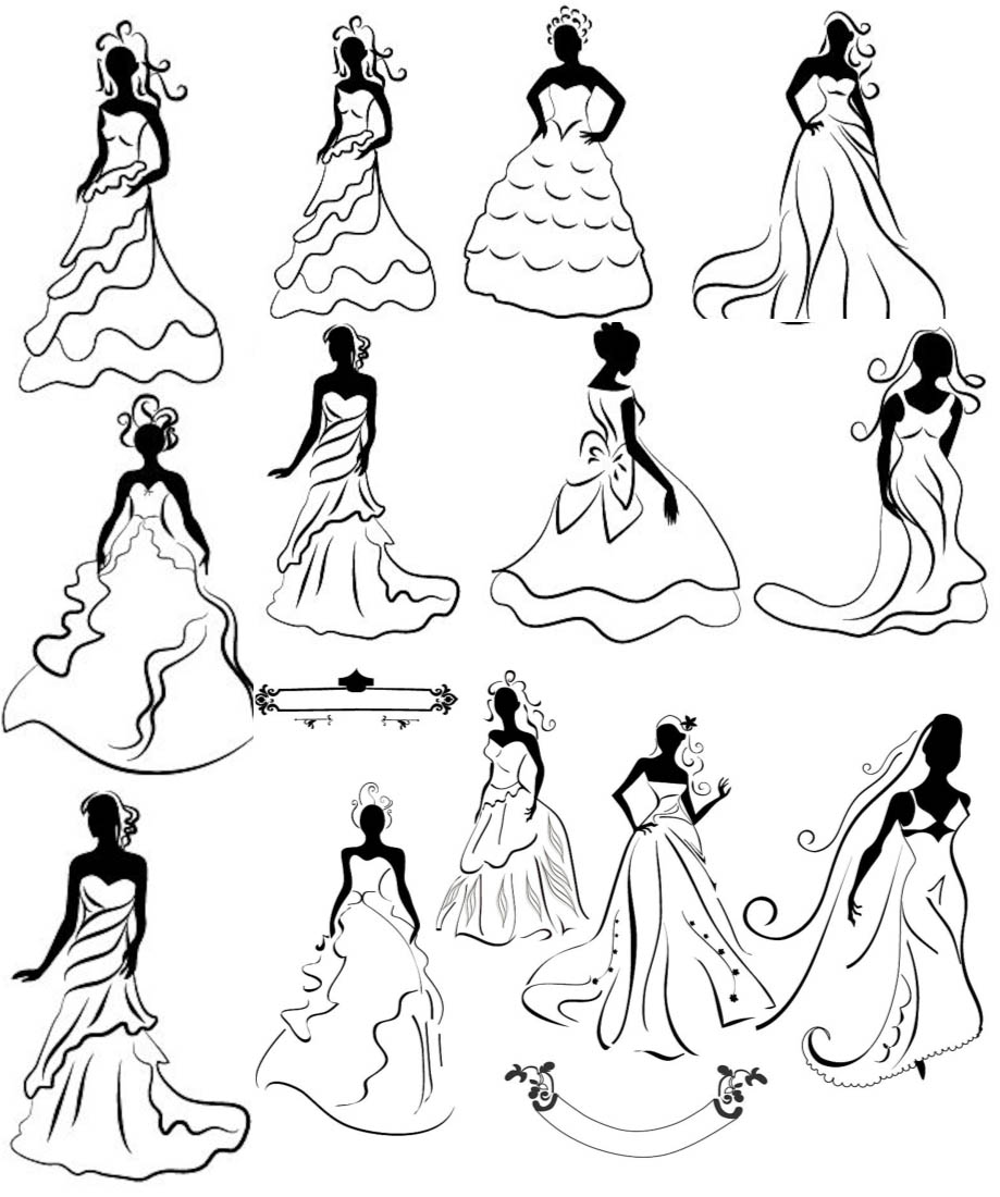 Dress clipart line art Black and Results SilhouetteClip clip