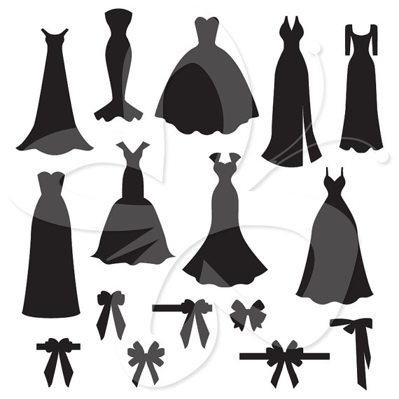White Dress clipart silhouette Dress Silhouettes Art Clip and