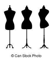 Illustration clipart fashion Art mannequins Vintage  set