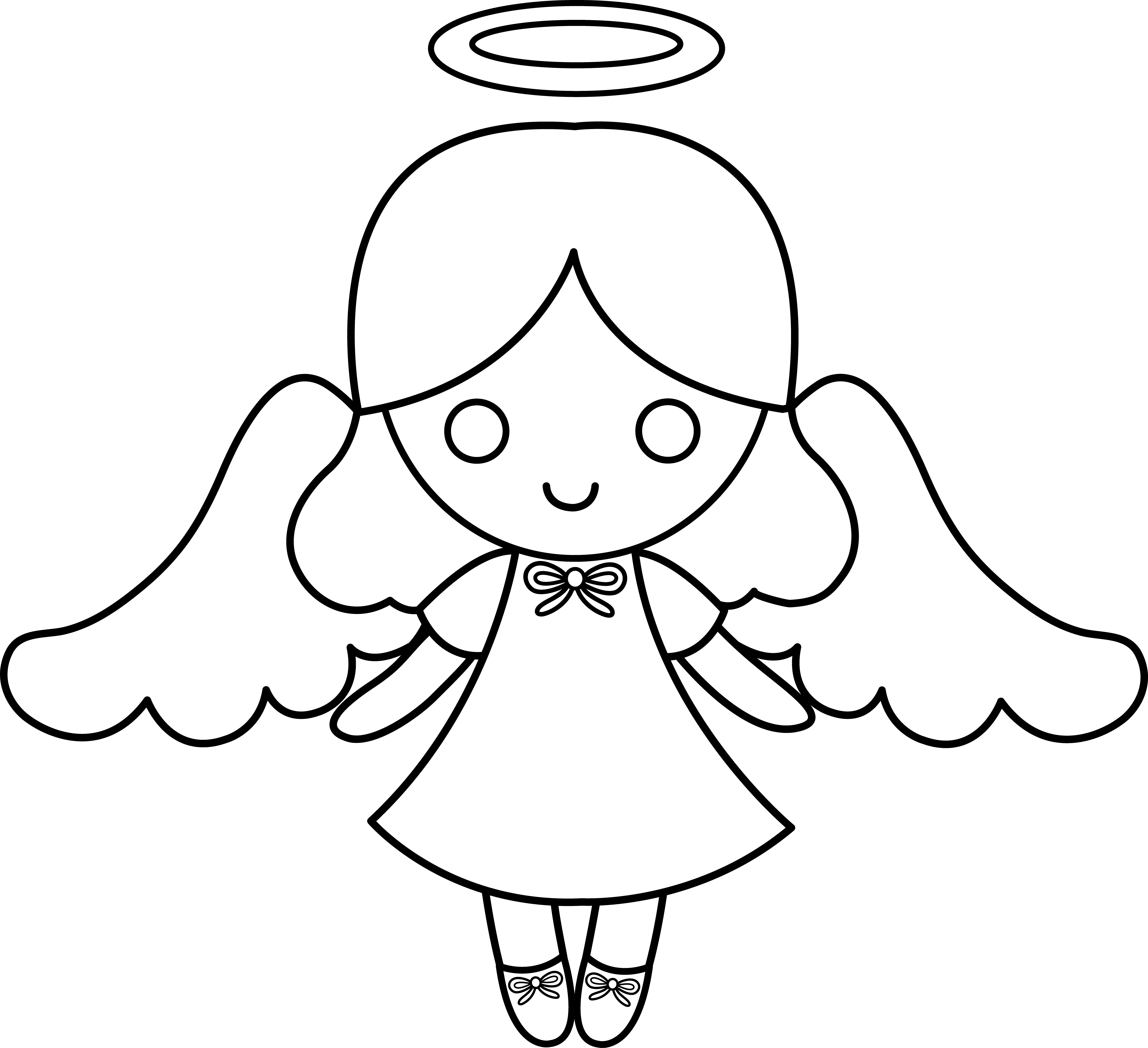 Wings clipart little angel Free Drawing White Black Clipart