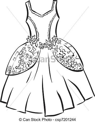 Dress clipart outline drawing Stock Dress Dress illustration Illustrations