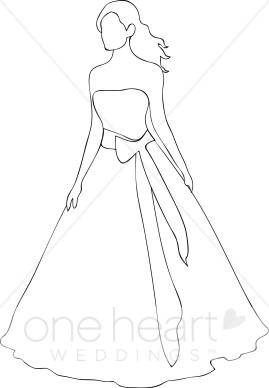 Dress clipart outline drawing Bride Clipart Outline Clipart Bride