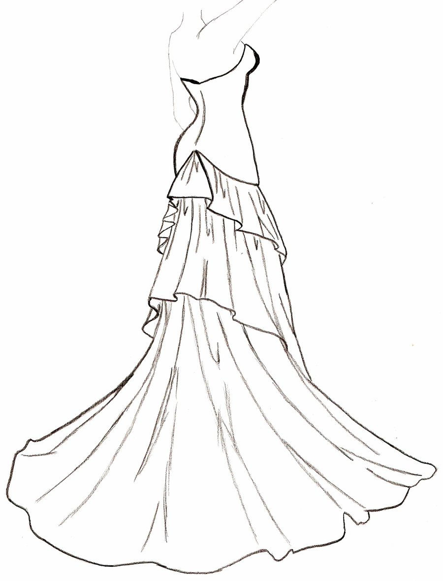 Dress clipart outline drawing Outline Outline Dress #10130 Wedding