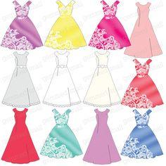 Dress clipart party dress Wedding GemmedSnail on INSTANT silhouette