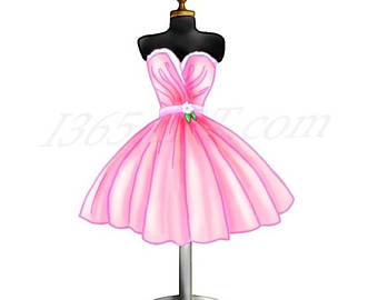 Gown clipart pink dress Etsy Dress Form Illustration Clipart