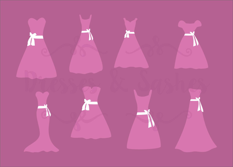 Dress clipart pink Files SVG Wedding Dress Etsy