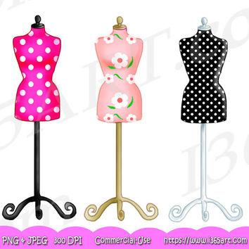 Dress clipart pink polka dot Clipart Invitations Polka form Scrapbooking