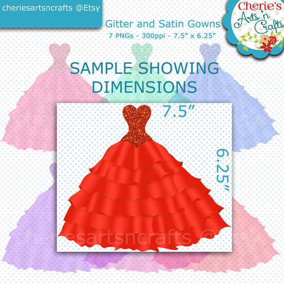 Gown clipart quinceanera dress This Glitter and  digital