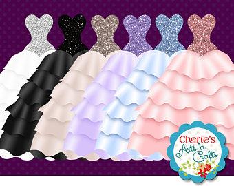 Gown clipart quinceanera dress Faux Clip Art Etsy Satin