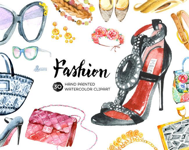 Dress clipart repair shop Watercolor shoes Fashion  Clipart