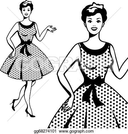 Dress clipart retro In retro Beautiful Clipart Vector