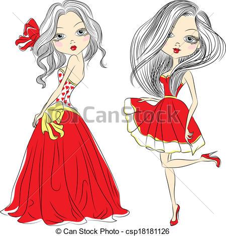 Dress clipart short dress Set Vector  in Vector