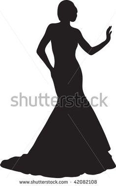 Gown clipart 3 woman Art silhouette dress a Stock