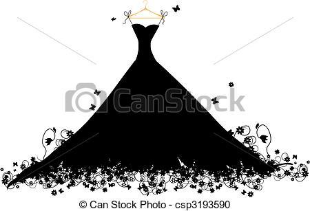 Gown clipart illustration Illustration csp3193590 of Vector black