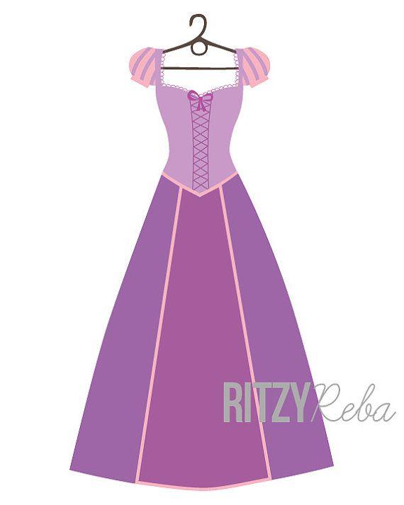 Dress clipart tangled Rapunzel Print Clipart * Silhouettes