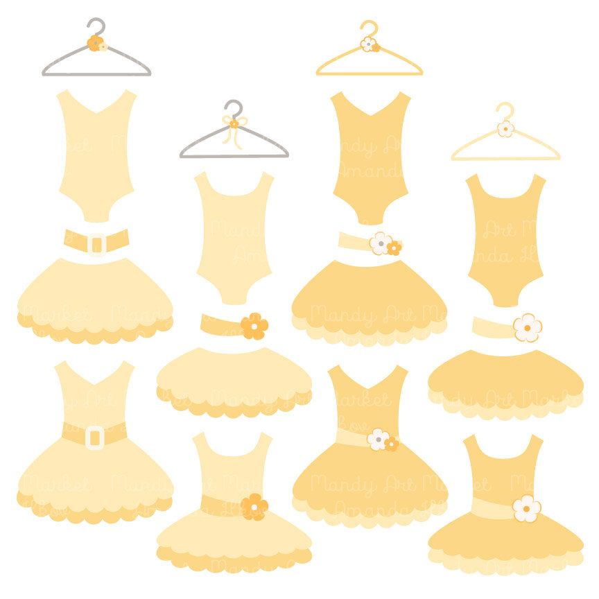 Dress clipart tutu dress Premium Clip Yellow Pink for