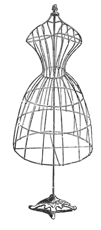 Gown clipart dress form Vintage  Art Dress Antique