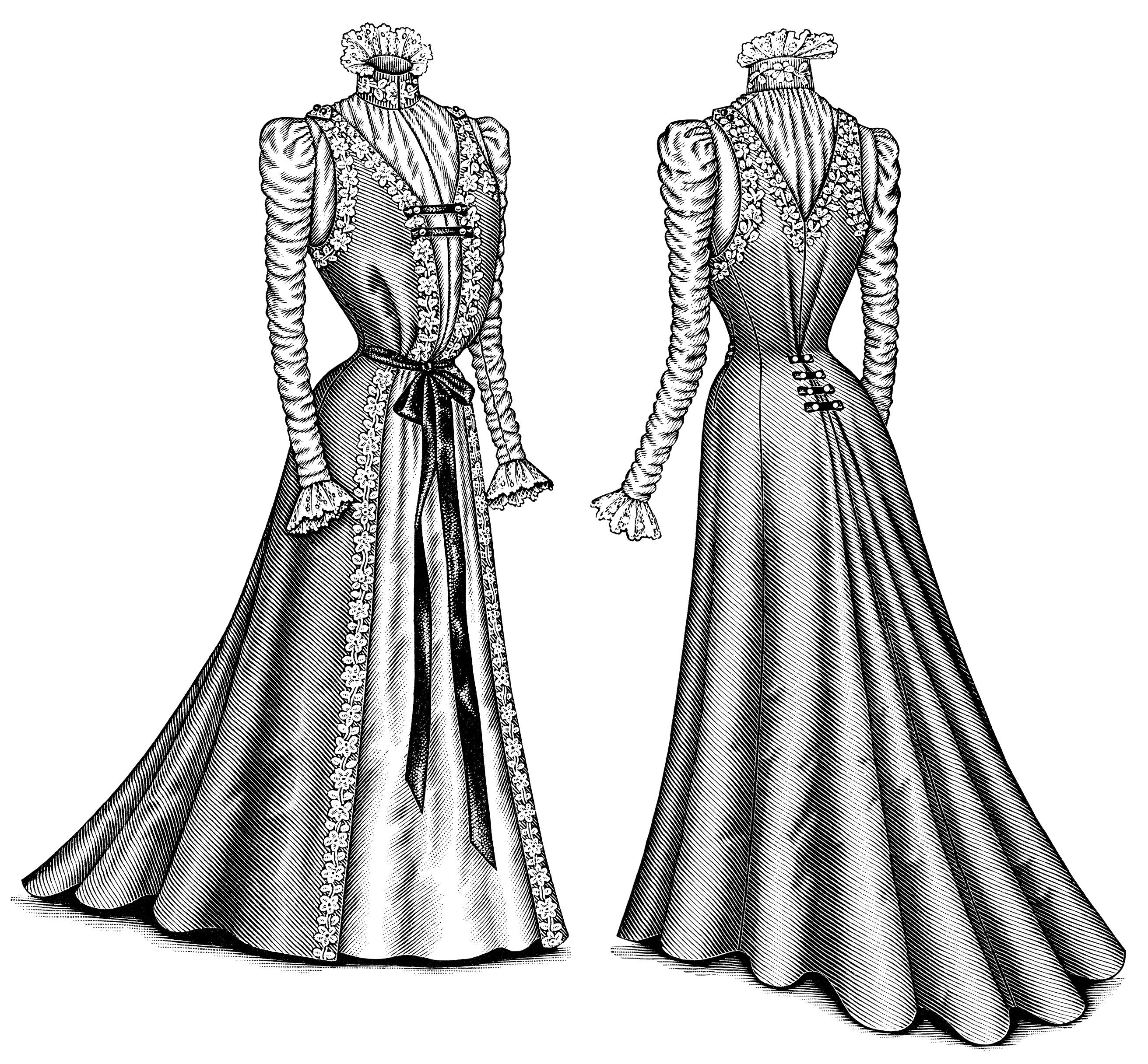 White Dress clipart printable Antique black Victorian fashion white