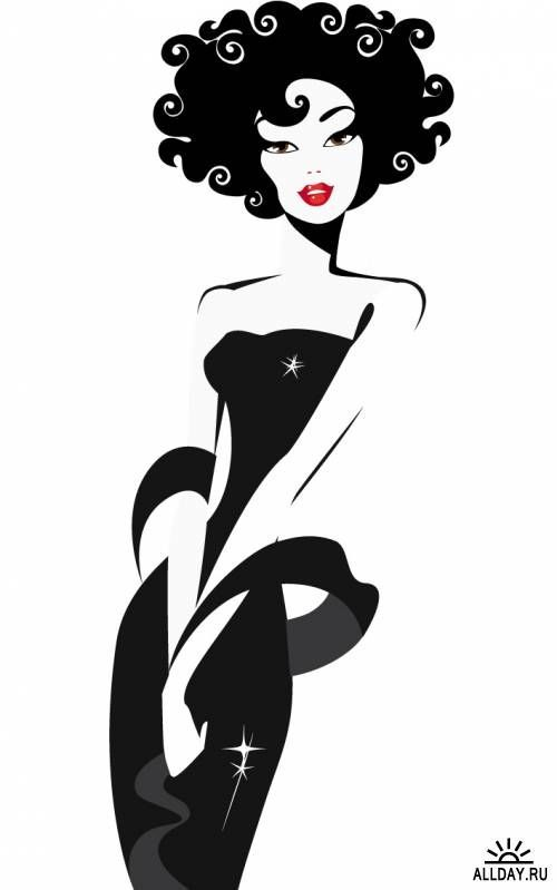 Dress clipart woman in black 500x799 on Powerpoints Afro black