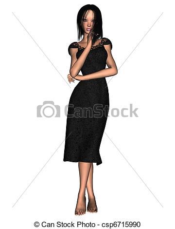 Dress clipart woman in black Dress Dress Black csp6715990 of