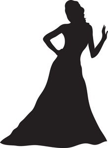 Gown clipart elegant dress Silhouette Silhouette Gown girl silhouettes