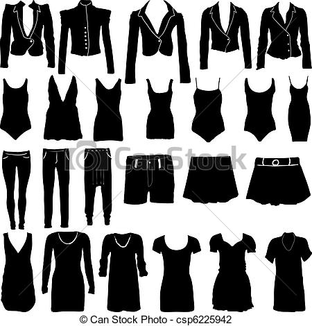 Dress clipart womens clothes Clothing of Womens Vector csp6225942