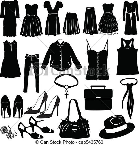 Dress clipart womens clothes Womens of Miscellaneous Vector csp5435760