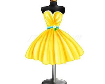 Dress clipart yellow dress Yellow digital Yellow Dress Dress